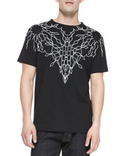 Mens Short Sleeve Graphic Tee, Black/Ivory   Marcelo Burlon   Black (LARGE)