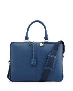 Mens Trudeau Zip Leather Briefcase, Blue   WANT Les Essentiels de la Vie   Blue