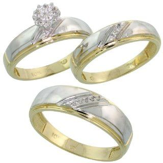10k Yellow Gold Diamond Trio Engagement Wedding Ring Set for Him and Her 3 piece 7 mm & 5.5 mm wide 0.09 cttw Brilliant Cut, ladies sizes 5   10, mens sizes 8   14: Jewelry