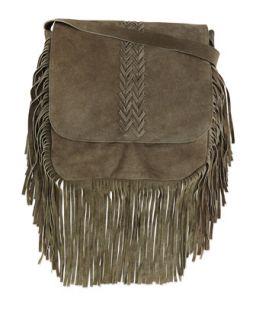 Jessica Suede Fringe Crossbody Bag, Olive   Raj Imports