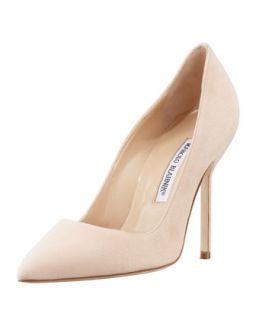 BB Suede 105mm Pump, Nude (Made to Order)   Manolo Blahnik   Nude (36.5B/6.5B)