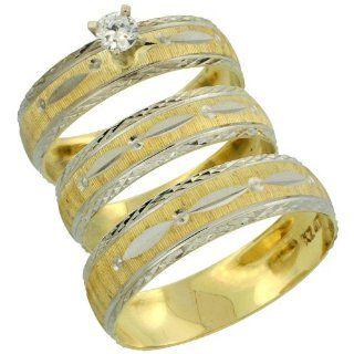 10k Gold 3 Piece Trio Diamond Wedding Ring Set Him & Her 0.10 ct Rhodium Accent Diamond cut Pattern , Ladies Sizes 5   10 & Men's Sizes 8   14: Jewelry