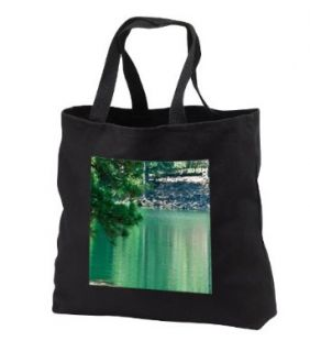 A Little Green Man Holding a Red Flag with a Sign on Him That Reads SLOW at Lake in Pine Valley   Black Tote Bag 14w X 14h X 3d Clothing