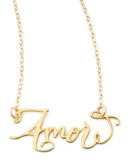 Amor Hand Calligraphed Necklace   Brevity   Gold