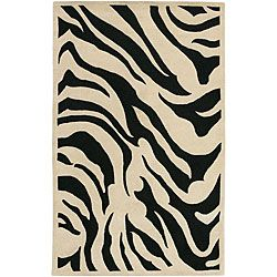 Hand tufted Black/white Zebra Animal Print New Zealand Wool Rug (9 X 13)