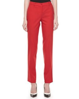 Womens Samantha Skinny Wool Pants, Crimson   Michael Kors   Crimson (10)