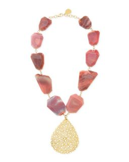 Porous Gold Plated Teardrop & Pink Agate Necklace   Devon Leigh   Gold
