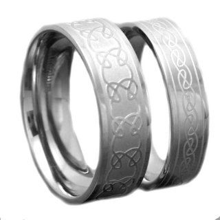 His And Hers Wedding Ring Sets Titanium Band Ridged Edge Celtic Scroll Engraved Wedding Ring Sets 6/8mm: Jewelry