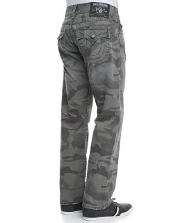 Mens Ricky Deringer Camo Print Jeans, Dusty Olive   True Religion   Dusty