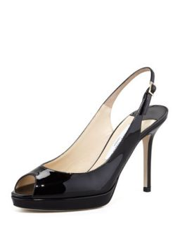 Nova Peep Toe Patent Slingback, Black   Jimmy Choo   Oxford (10B)