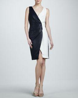 Womens Leather Colorblock Dress   J. Mendel   Navy / chalk (6)