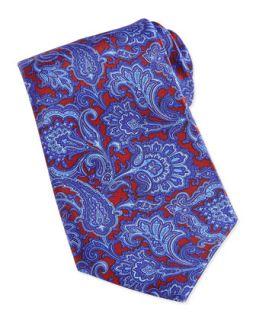 Mens Paisley Print Woven Silk Tie, Blue   Stefano Ricci   Blue 6