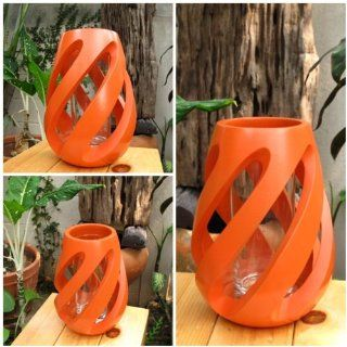 Shop (Made to Order) Handmade Twist Shape Modern Art Mango Wood Vase with Orange Design Home Decor Garden Decor at the  Home D�cor Store