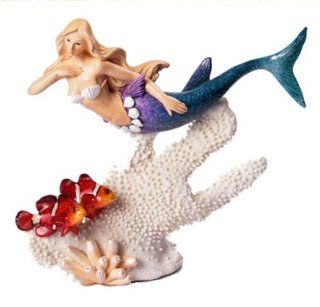 "Mermaid and Clown Fish on Coral Figurine Cast Resin 8 3/4""L Nautical Tropical Home Decor   Collectible Figurines"