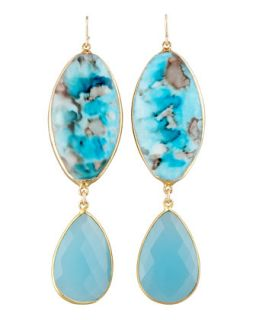 Turquoise Double Drop Earrings   Devon Leigh   Blue shell