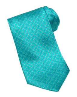 Mens Square Medallion Silk Tie, Teal   Stefano Ricci   Teal