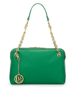 Saffiano Cow Detail Faux Leather Shoulder Bag, Green   Love Moschino