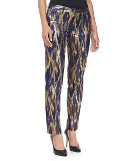 Womens Samantha Ikat Jacquard Pants   Michael Kors   Sapphire multi (8)