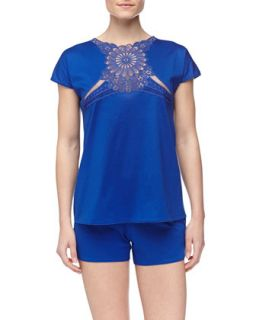 Womens Maya Short Pajamas, Blue   La Perla   Blue (LARGE)
