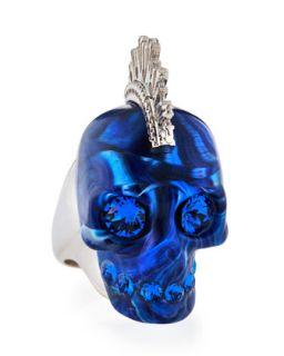 Plexi Punk Skull Ring, Blue/Silvertone   Alexander McQueen   Blue/Silver (6)