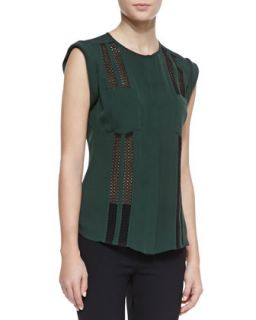 Womens Lace Stripe Cuffed Shoulder Blouse   Veronica Beard   Forest green (12)