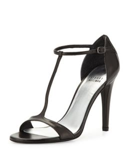 Sinful Leather T Strap Sandal, Black   Stuart Weitzman   Black (10 1/2B)