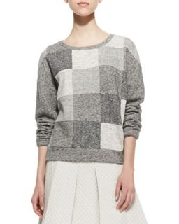 Womens Patchwork Knit Scoop Neck Sweatshirt   10 Crosby Derek Lam   Grey combo