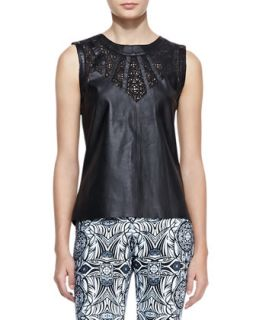 Womens Valentina Leather Cutout Top   Valentina Shah   Nero (LARGE)