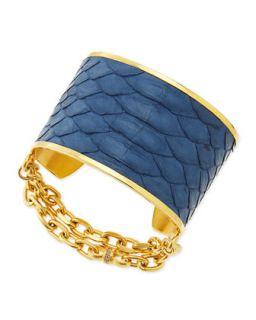 14k Gold Plate & Python Cuff, Blue   Paige Novick   Gold (14k )