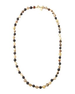 Haba Horn Bead Necklace, 41L   Ashley Pittman   Brown