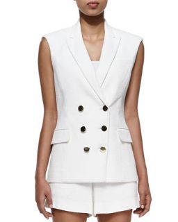 Womens Textured Sleeveless Double Breasted Vest   Veronica Beard   White (12)