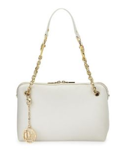 Saffiano Cow Detail Faux Leather Shoulder Bag, White   Love Moschino