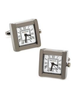 Mens Square Watch Movement Cuff Links, Black   Cufflinks   Black