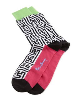 Maze Print Mens Socks, Black/White   Arthur George by Robert Kardashian