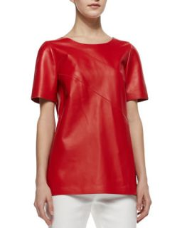 Womens Amberlyn Short Sleeve Leather Top, Salsa   Lafayette 148 New York