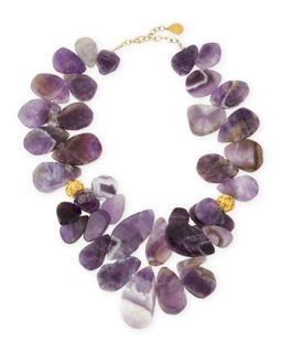 Amethyst Teardrop Cluster Necklace   Devon Leigh   Purple