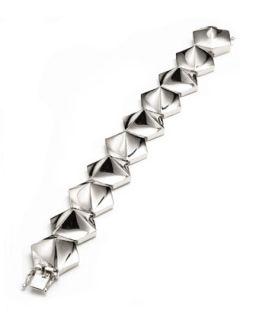 Bent Pyramid Tennis Bracelet, Silvertone   Eddie Borgo   Silver