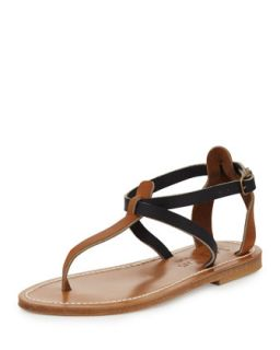 Buffon Two Tone Thong Sandal, Natural/Navy   K. Jacques   Natural/ navy (40.