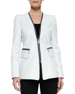 Womens Tori Lambskin Zipper Jacket   Dawn Levy   White (SMALL/6)