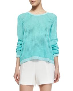 Womens Arianna Knit Long Sleeve Pullover   Rag & Bone   Aqua (LARGE)