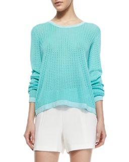Womens Arianna Knit Long Sleeve Pullover   Rag & Bone   Aqua (LARGE)