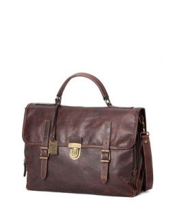 Mens Logan Buckled Briefcase, Dark Brown   Frye   Dark brown