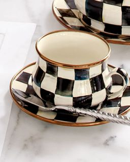 Courtly Check 10 oz. Enamel Teacup   MacKenzie Childs
