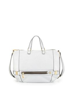 Honore Perforated Leather Hobo Bag, White   Botkier