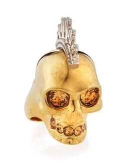 Two Tone Punk Skull Ring   Alexander McQueen   Gold (7.5)