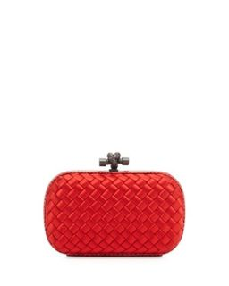 Woven Satin Knot Minaudiere, Bright Red   Bottega Veneta