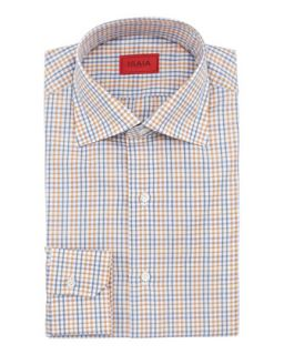 Mens Check Cotton Shirt, Orange/Gray   Isaia   Orange (17 1/2)