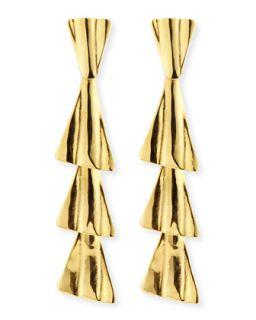 18k Gold Plated Fan Drop Earrings with Post   Robert Lee Morris   Gold (18k )