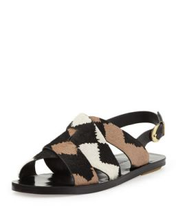 Poet Calf Hair Strappy Sandal, Black/White   10 Crosby Derek Lam   Black/White