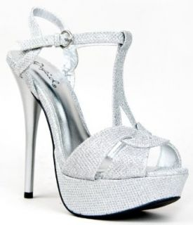 Qupid DAZZLING 99 Platform High Heel Stiletto T Strap Slingback Glitter Party Sandal: Shoes